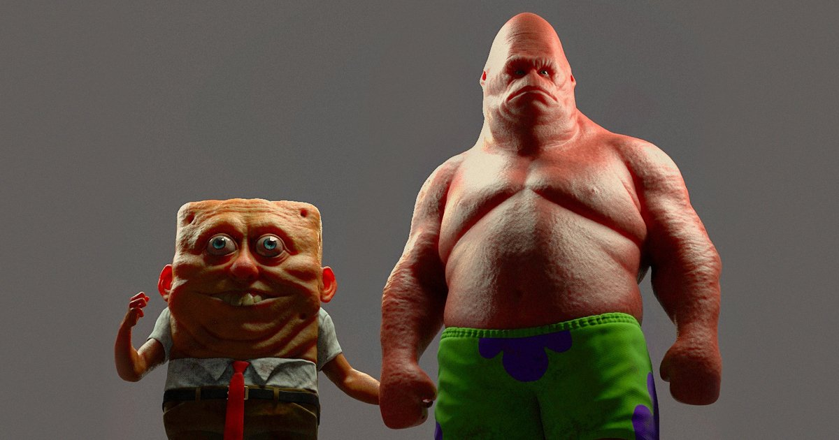This Artist Creates Terrifying 3d Art Of Cartoon Characters 22 Words