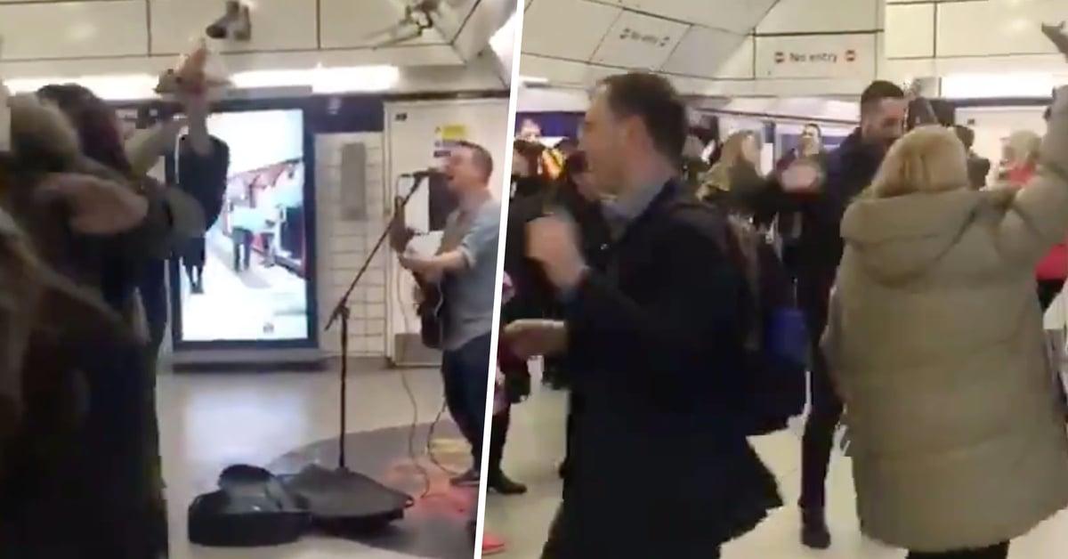 Heartwarming Moment Passengers Break out Into Impromptu Dance as Busker Performs