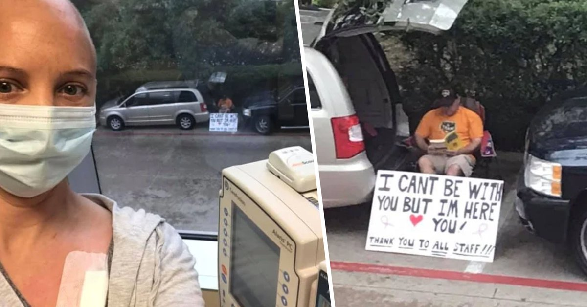 Husband Who Can't Be with Wife During Chemo Treatment Waits Outside Hospital with Sign