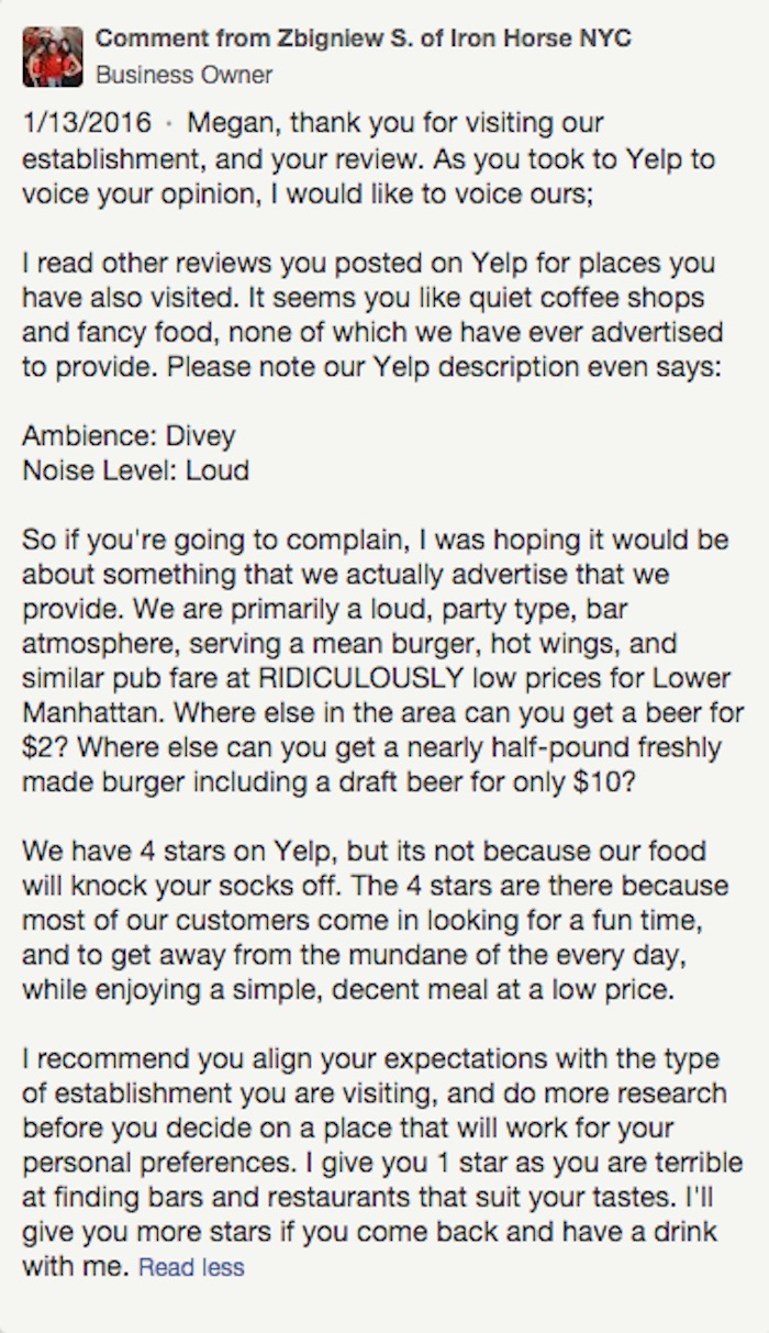Dive Bar Delivers Perfect Response To One Star Review On Yelp 22 Words