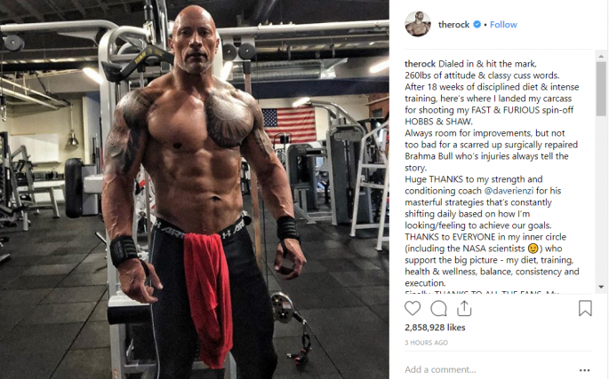 Dwayne Johnson Shows Incredible Results Of 18 Weeks Of Dieting And