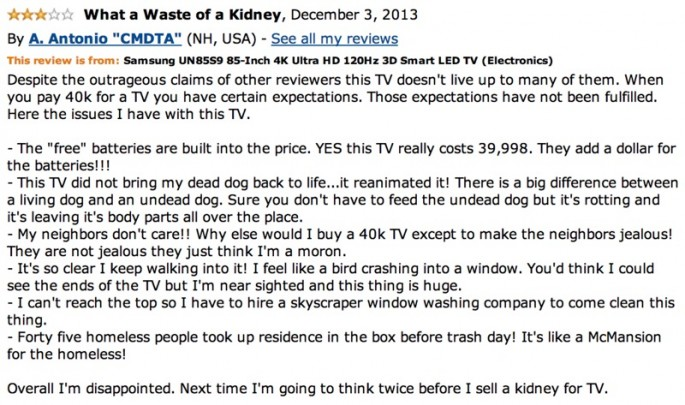 Amazon Reviews of 85-inch TV - 13