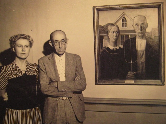 The Models Who Were Used In American Gothic Standing By