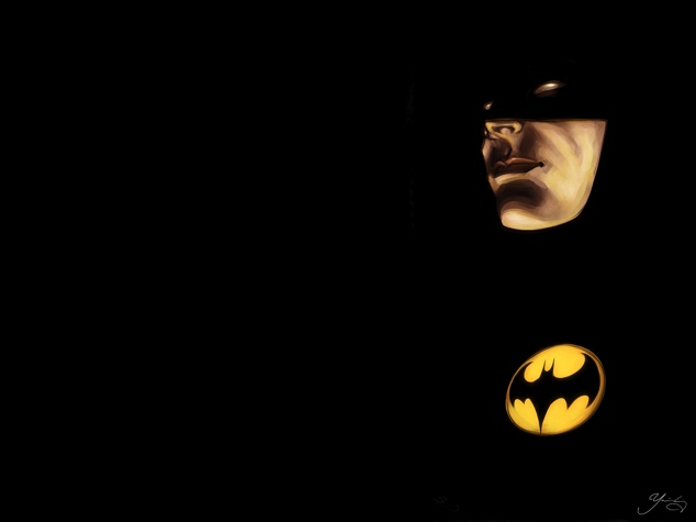 Mainly black image with Batman's face and logo emerging from the shadows.