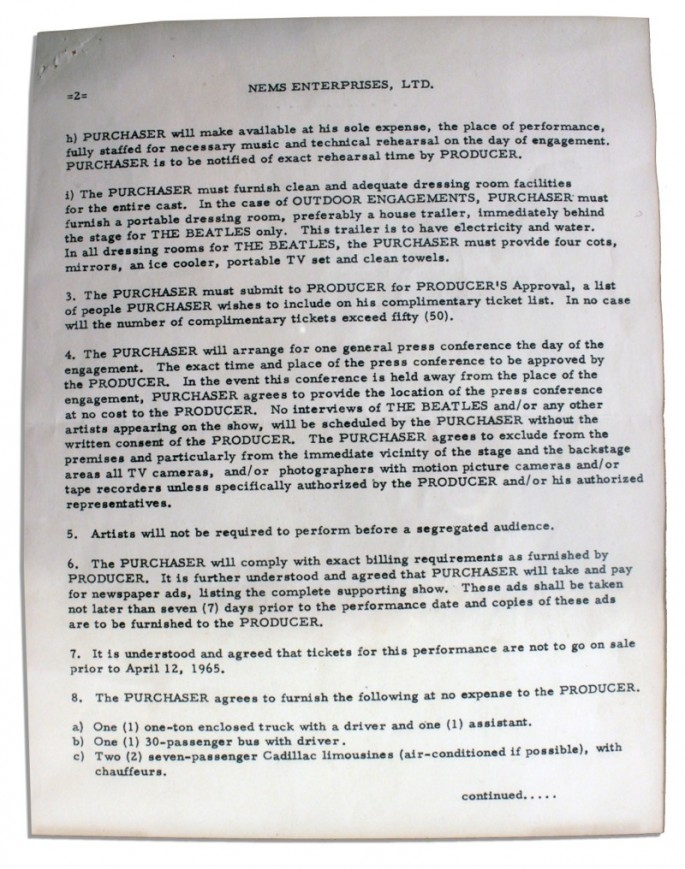 Beatles Contract - No segregated audiences