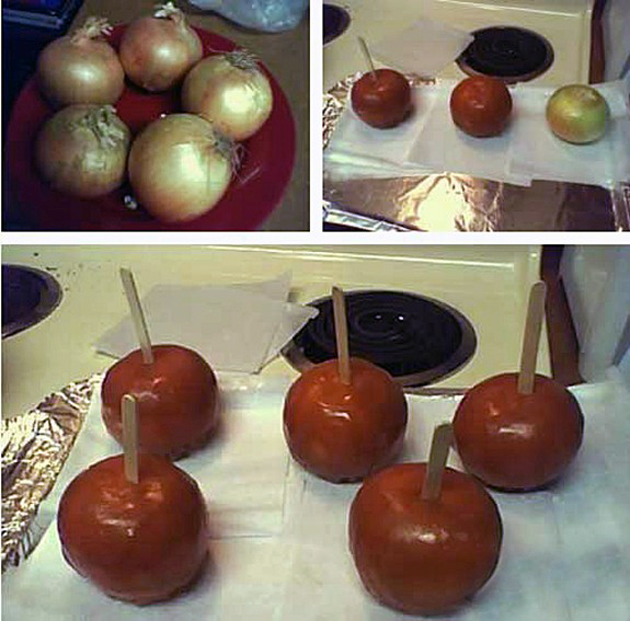 Image result for onion taffy apple prank