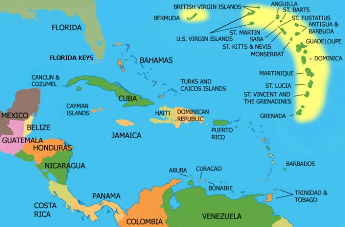 Fascinating world map includes countries ocean territory in their caribbean sea world map caribbean gumiabroncs Images