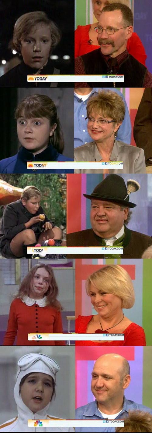 "Then and now pictures of the kids from the 1971 film adaptation of ""Charlie and the Chocolate Factory"""