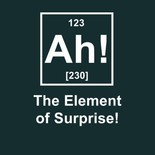 "Image pretending that the element of surprise is in the table of elements. ""Ah!"" is its abbreviation."