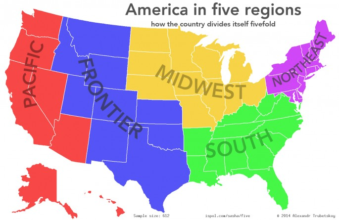 Dividing The United States Into  Regions Based On Popular Opinion - 5 us regions map