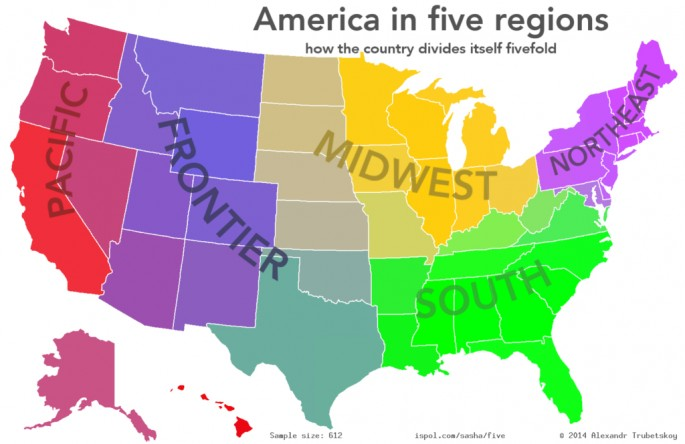 Dividing The United States Into Regions Based On Popular Opinion - Map of us regions