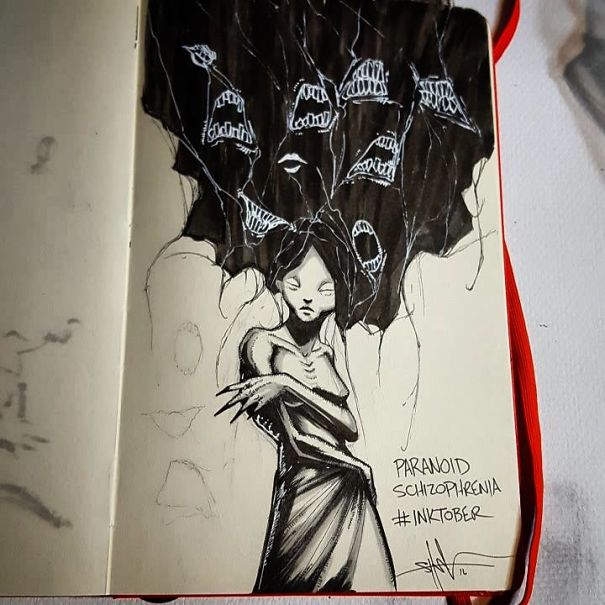 Artist With Autism Illustrates >> This Artist Gives Haunting Illustrations To 18 Different Mental