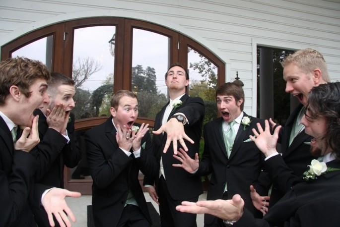 Groomsmen shocked at groom's wedding ring