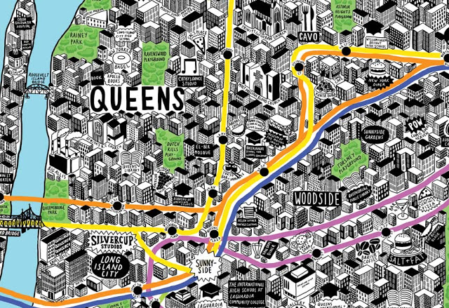 Intricate And Cartoonish Handdrawn Map Of New York City - New york city map drawing