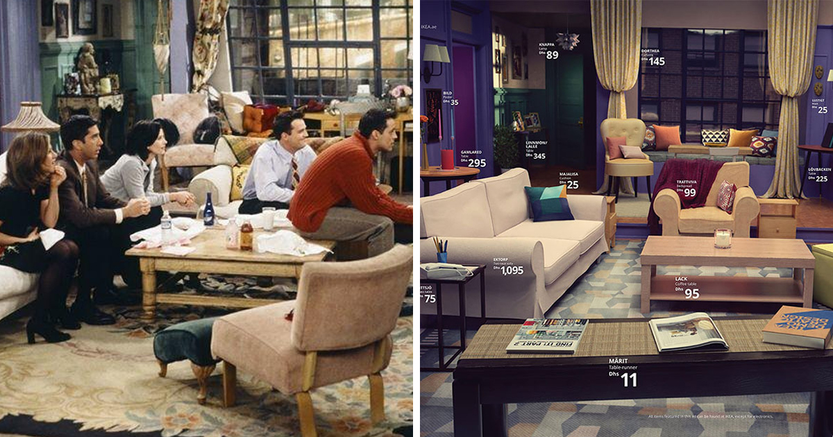 ikea recreated the living rooms from popular tv shows 22 words. Black Bedroom Furniture Sets. Home Design Ideas