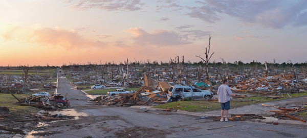A Joplin, Missouri neighborhood after the tornado came through