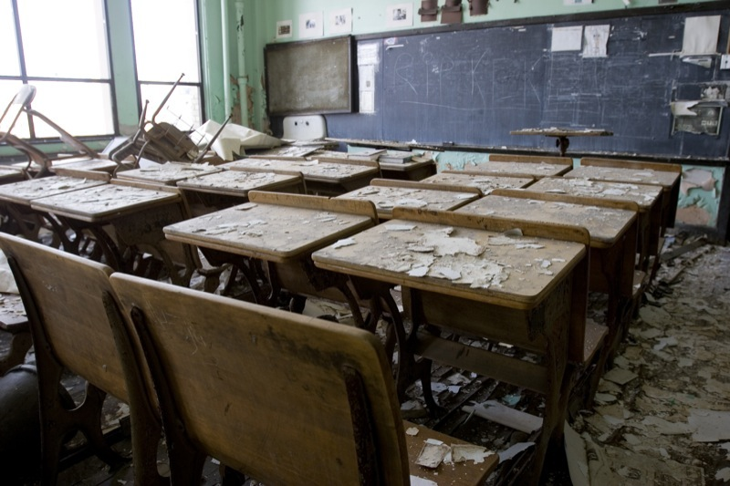 Trashed classroom in a deserted Detroit public school
