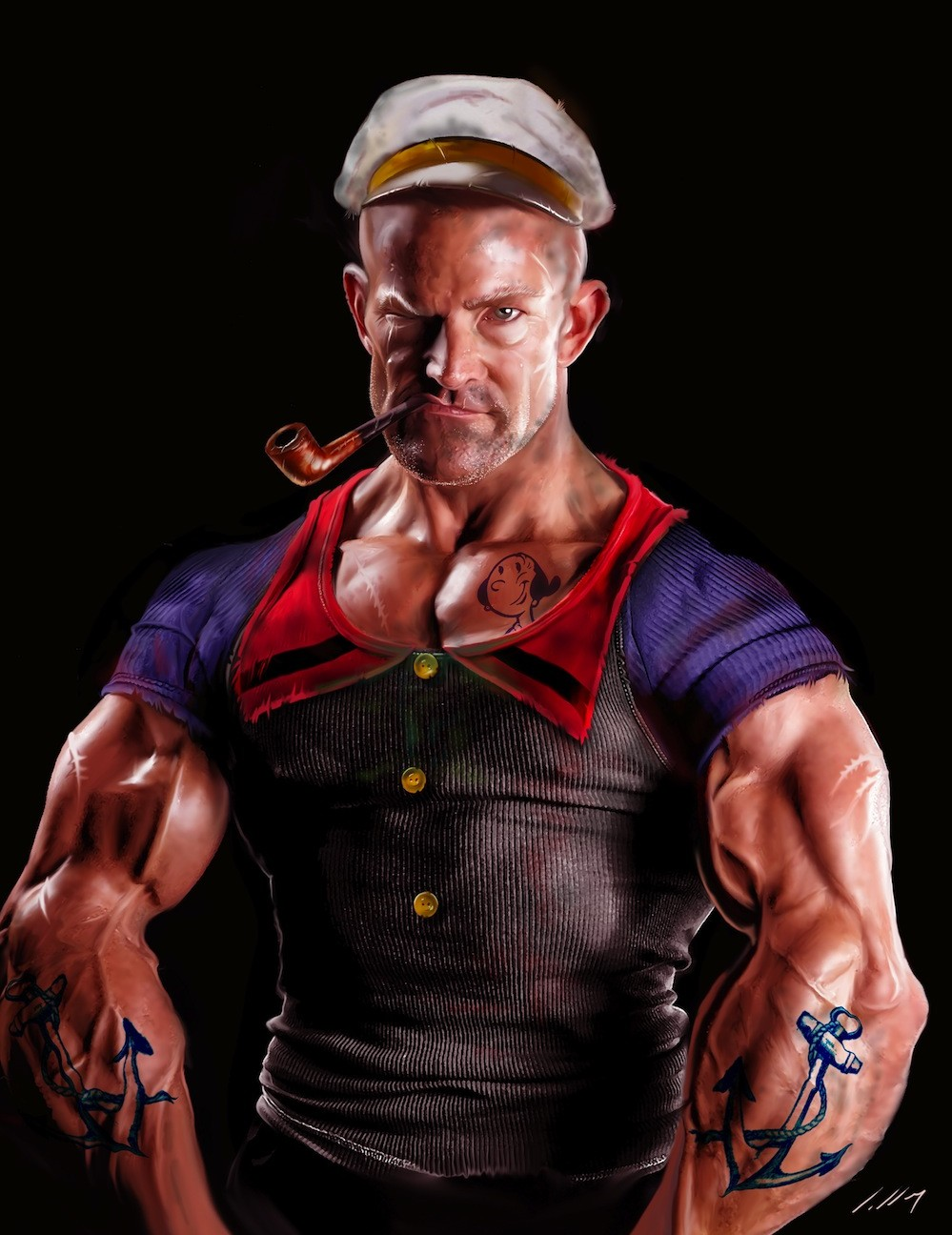 29 artists 39 interpretations of a more realistic popeye for Hardcore tattoo porn