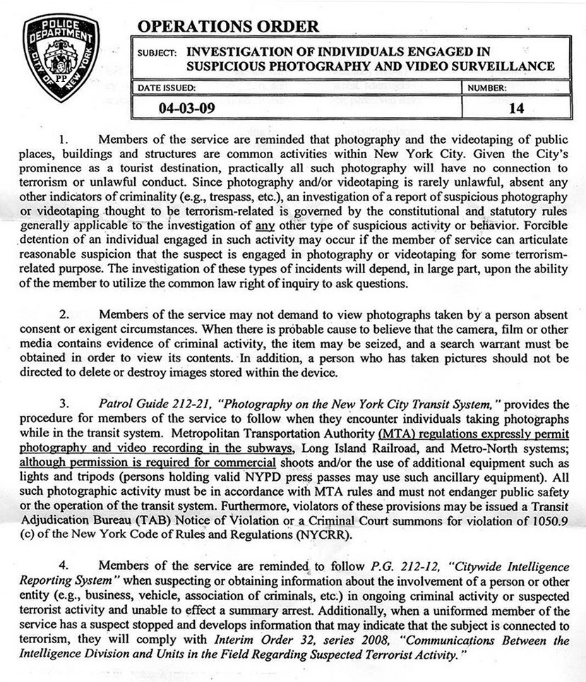 Nypd Memo Reminds Officers That Public Photography Is Not