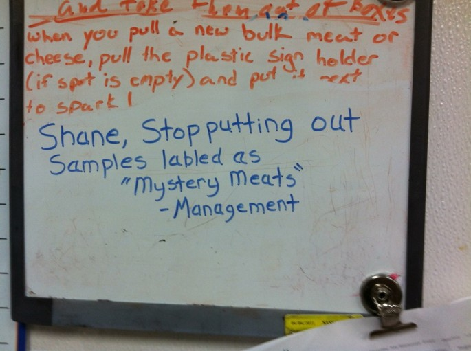 Whiteboard Notes From Walmart Management Scolding A