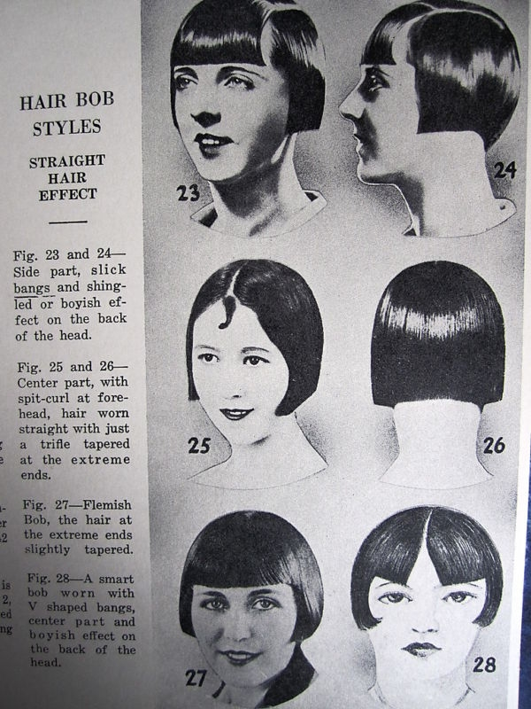 Pictures of 3 vintage hairstyles and their descriptions