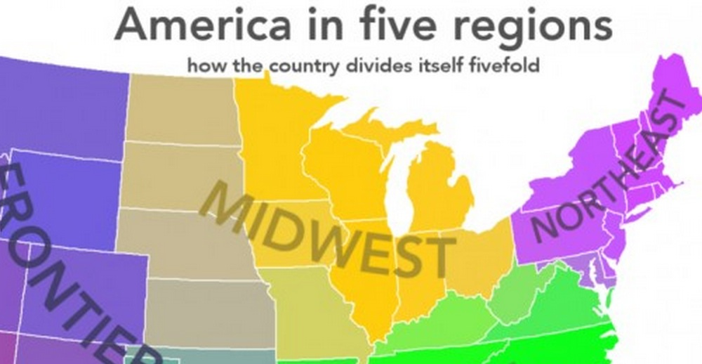 dividing the united states into 5 regions based on popular opinion