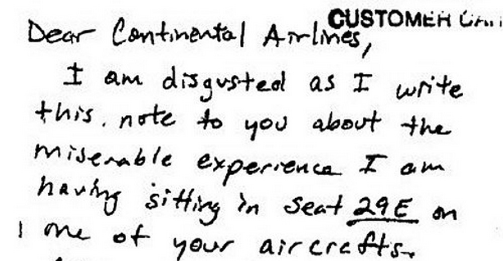 Amusingly pissed off letter to continental airlines about a seat by amusingly pissed off letter to continental airlines about a seat by the lavatory expocarfo Image collections
