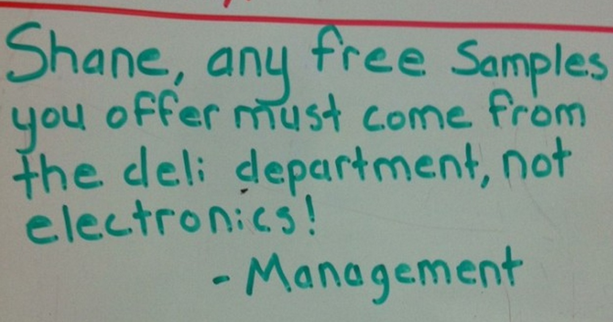 Whiteboard notes from Walmart management scolding a hilariously dumb
