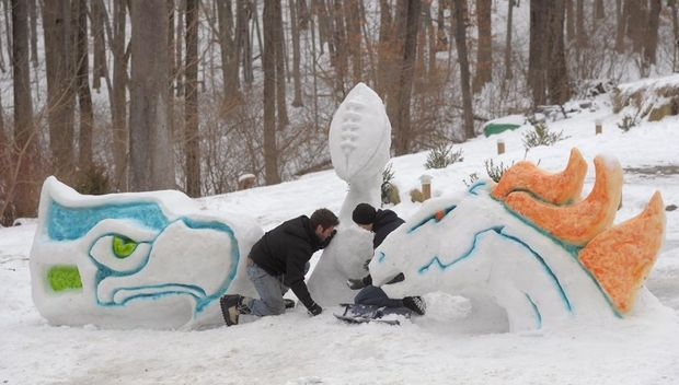 Super Bowl Snow Sculpture - 01