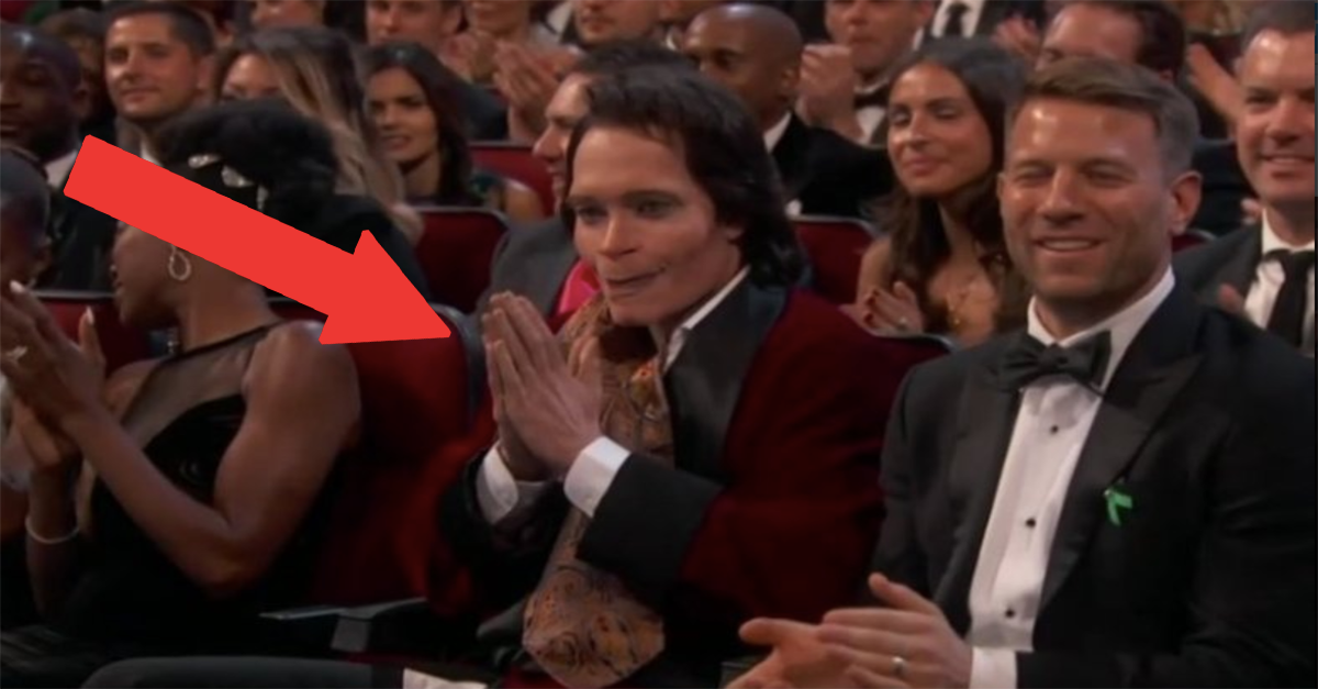 who is this man sitting in the front row of the emmys 22 words