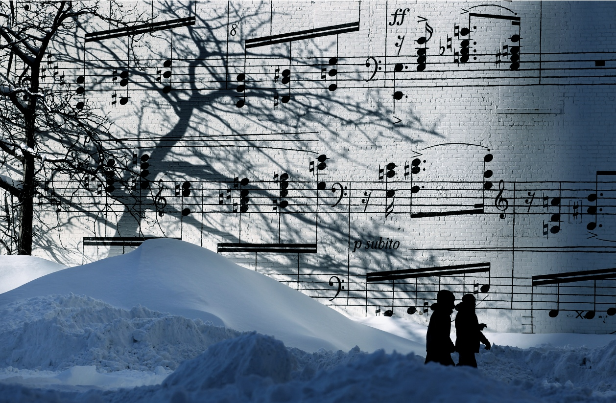the old schmitt music store mural on a snowy day 22 words source
