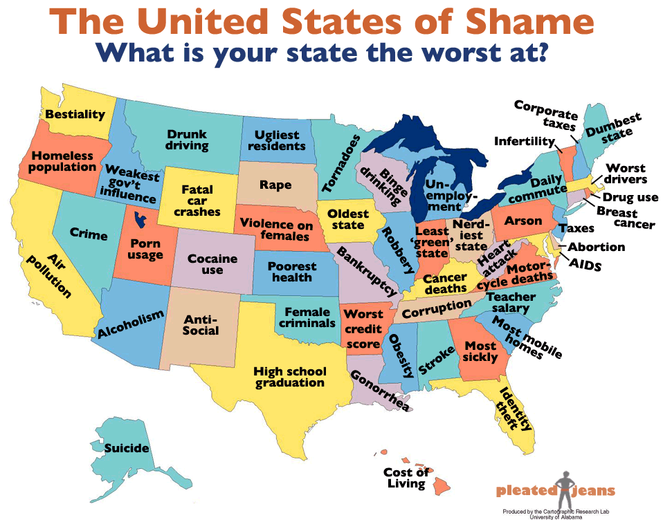 a map of the u s showing what is terrible about each state