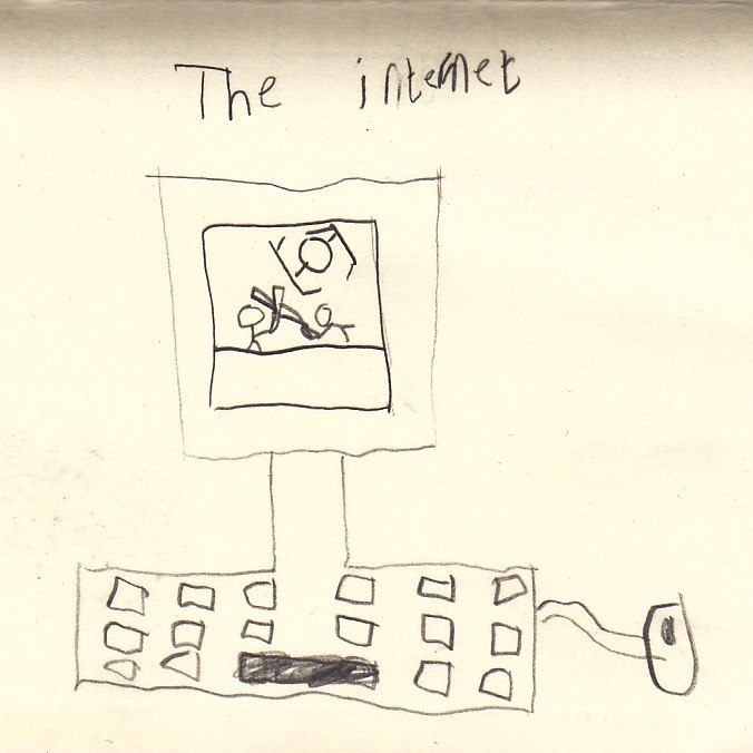 The internet as drawn by a 6-year-old - A child's drawing of a moniter, keyboard, and mouse with a Star Wars scene on the screen