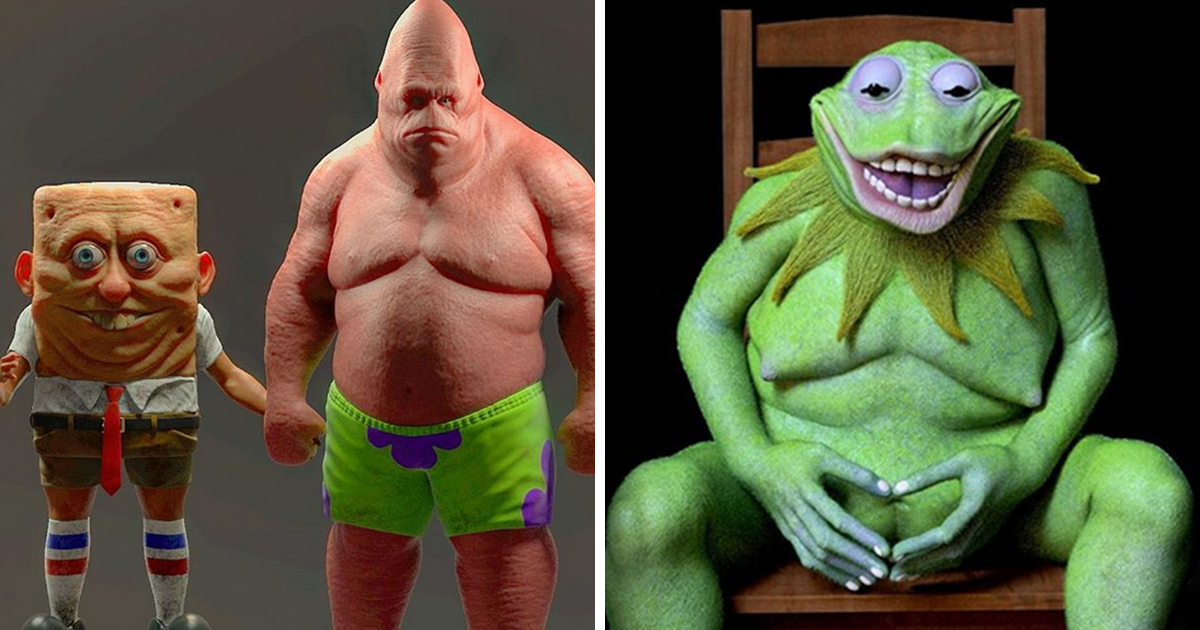 This Man Wont Stop Creating Creepily Disturbing Human Versions Of Famous Cartoon Characters