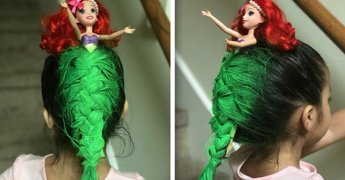 this mom turned her daughters hair into a mermaid for