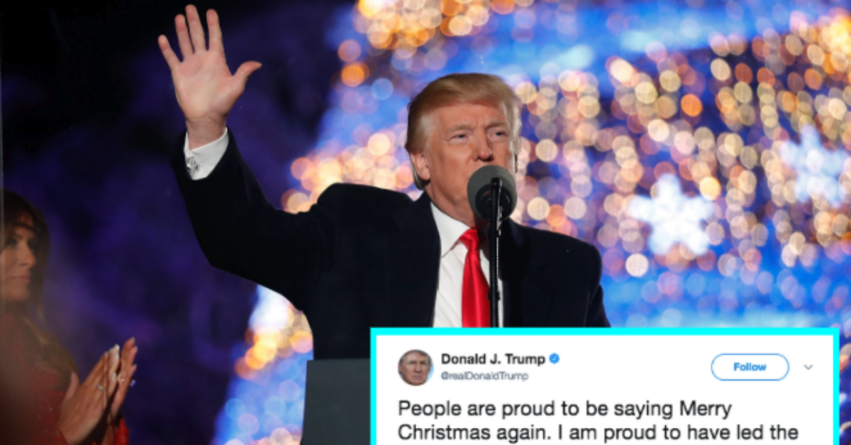 trump tried to take credit for bringing back merry christmas but the internet wasnt falling for it