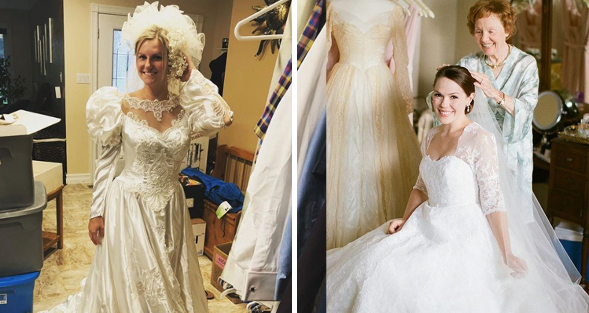 Stunning Brides Who Wore Their Mom S Wedding Dresses 22 Words