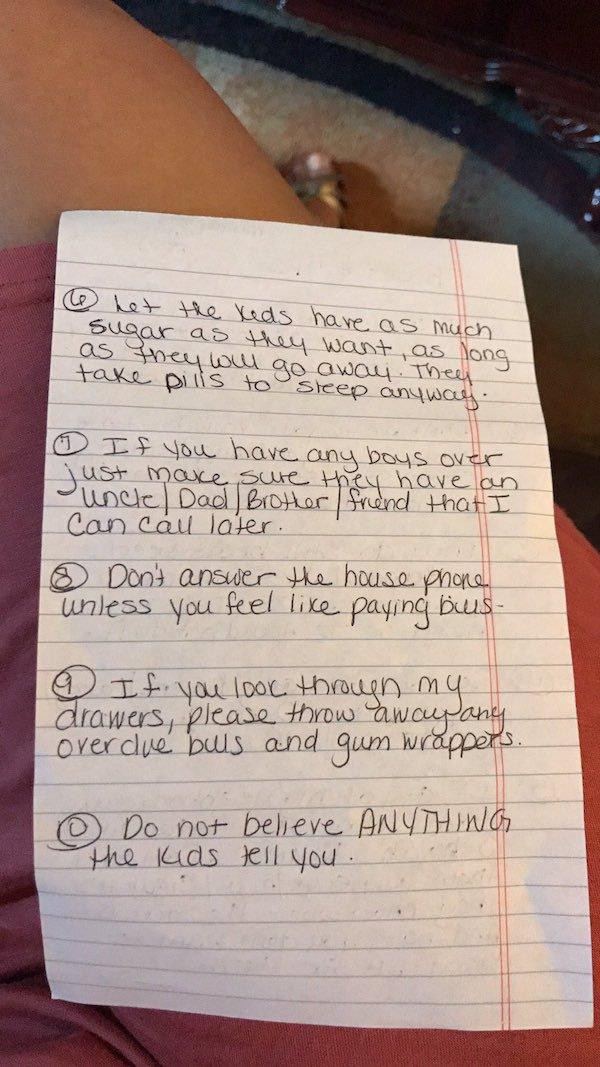 Cool Mom Leaves Honest And Hilarious Instructions For Her
