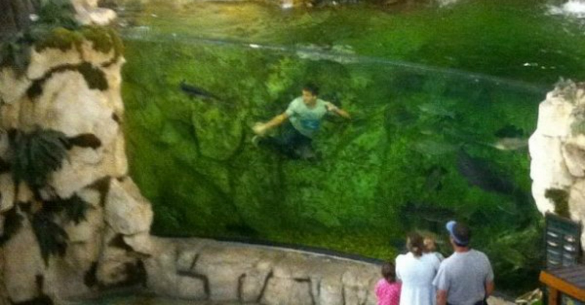 This Kid Jumped Into A Bass Pro Shops Fish Tank