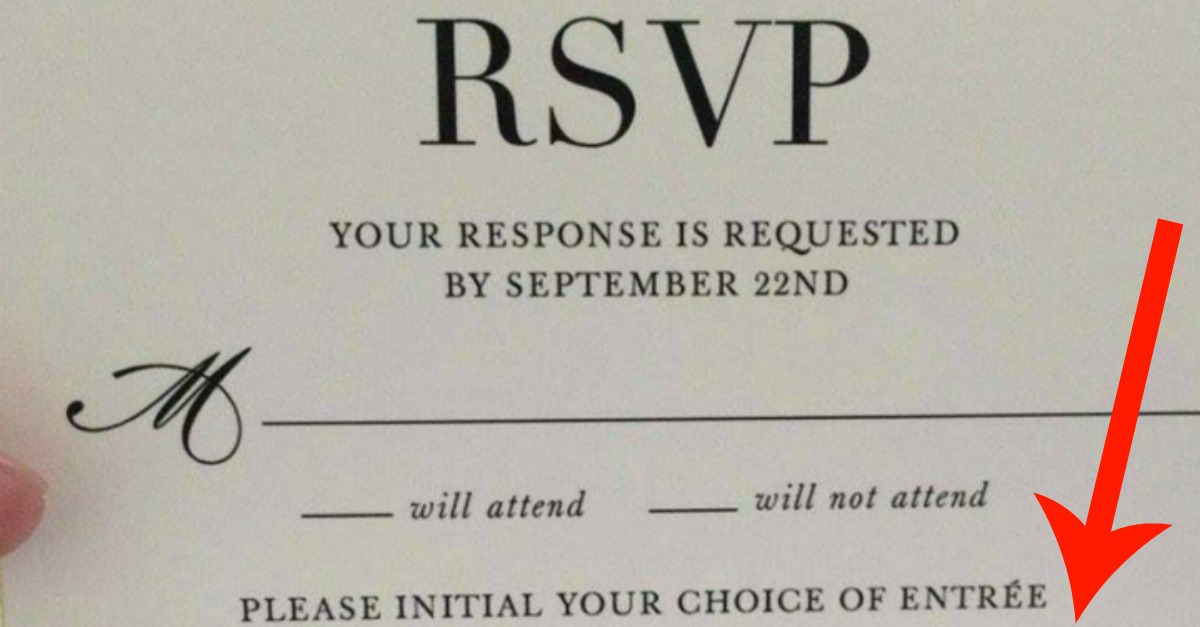 this wedding u0026 39 s rsvp card has a hilariously strange meal