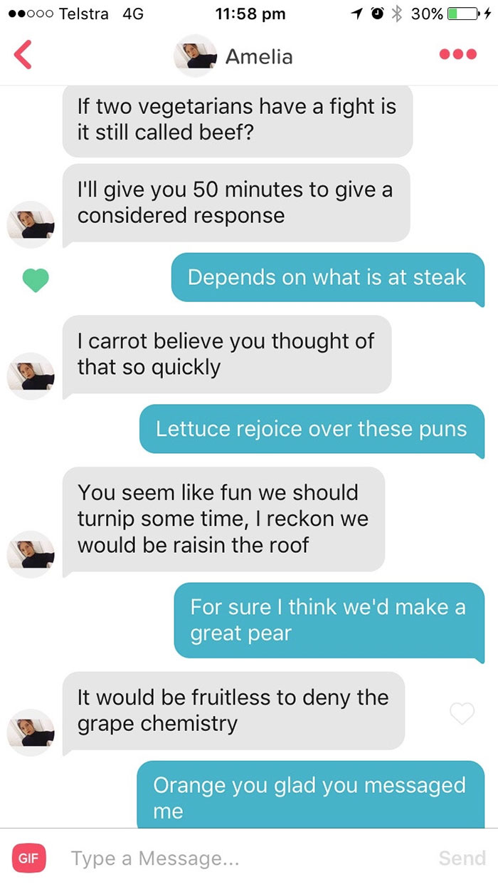 30 Tinder Pick Up Puns That Are So Bad, You Can't Help But Laugh