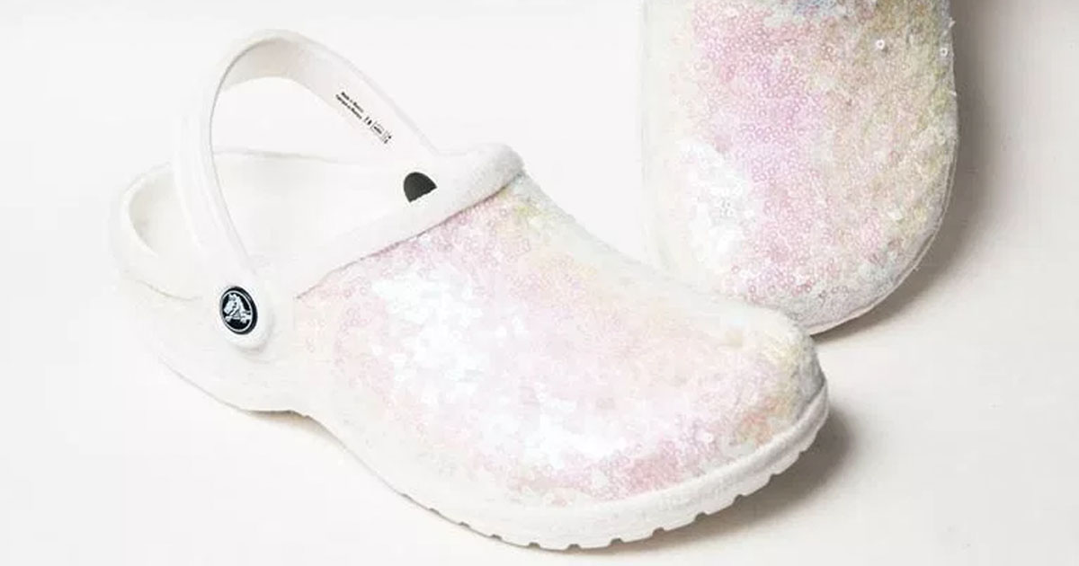 5af1e76c8 You Can Now Buy White Glitter Crocs for Your Wedding Day