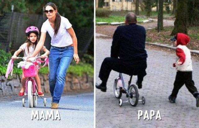 10 תמונות שממחישות את ההבדל בין אבא לאמא