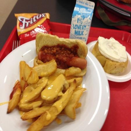 chili dog and cheese fries