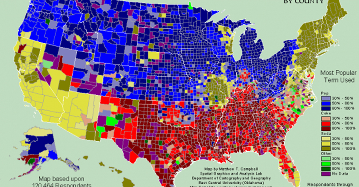 Map of the us showing what people call sodapopcoke 22 words sciox Gallery