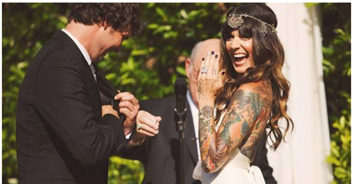 c48d654a0b 17 Tattooed Brides Who Prove That Ink and Wedding Gowns Can Be a Timeless  Combination